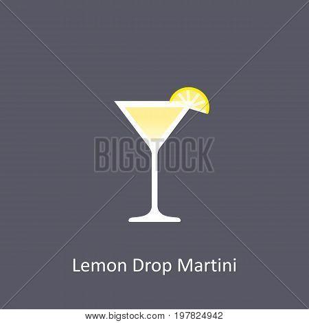 Lemon Drop Martini cocktail icon on dark background in flat style. Vector illustration