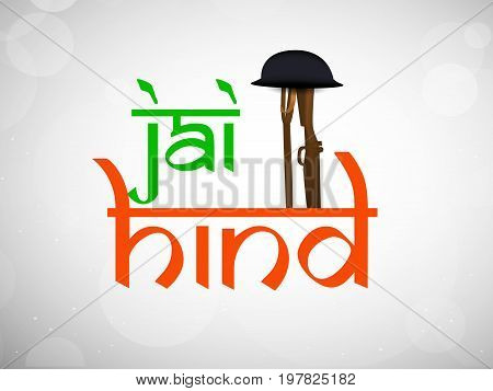 illustration of rifle, gun and hat with jai hind text in hindi language on the occasion of India Independence day