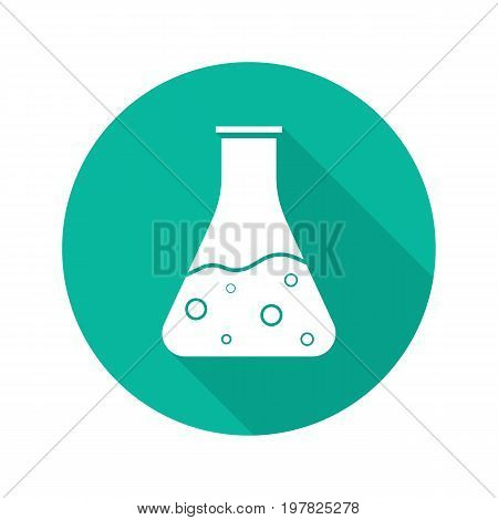 Chemical reaction flat design long shadow glyph icon. Boiling potion bottle. Vector silhouette illustration
