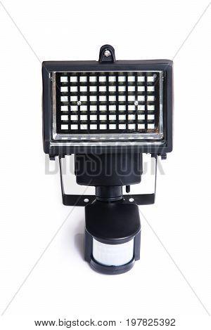 LED with movement sensor light using solar energy on white background.