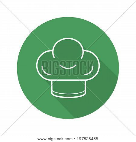 Chef's hat flat linear long shadow icon. Toque. Vector outline symbol