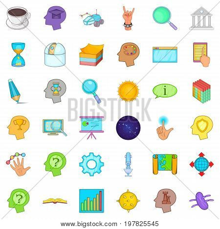 Long brainstorm icons set. Cartoon style of 36 long brainstorm vector icons for web isolated on white background
