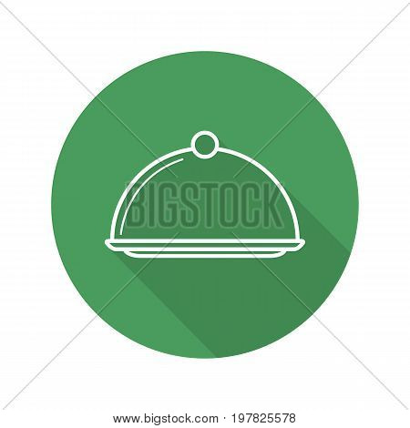 Covered dish flat linear long shadow icon. Restaurant food serving dish platter with lid. Vector outline symbol