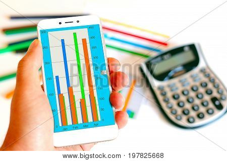 Economic, color, bar chart on your mobile