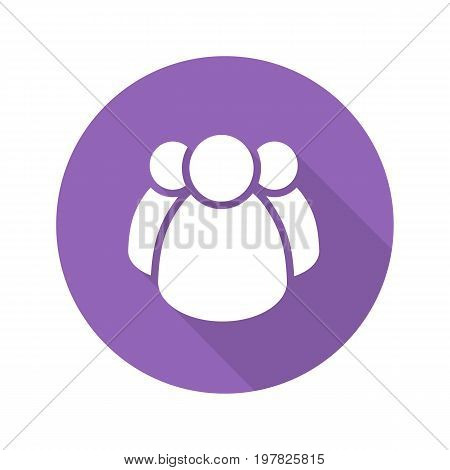 Community flat design long shadow glyph icon. Group of people. Community service. Teamwork. Association. Vector silhouette illustration