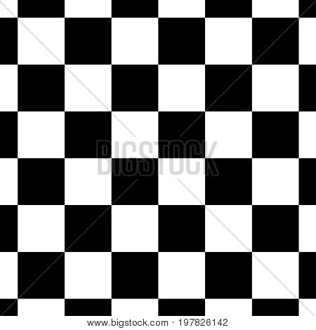 Chessboard Or Checker Board Seamless Pattern In Black And White. Checkered Board For Chess Or Checke