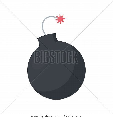 Lit bomb vector flat icon Flat design of weapon or military agression object isolated on the white background cute vector illustration with reflections