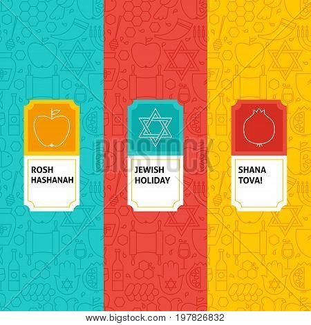Line Rosh Hashanah Patterns Set. Vector Illustration of Logo Design. Template for Packaging with Labels.