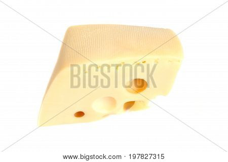 cheese chunk isolated on a white .