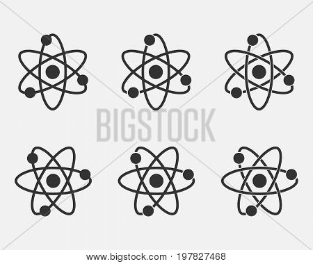 Atom icon set. Nuclear icon. Electrons and protons. Science sign. Molecule Icon isolated on grey background. Vector illustration. Eps 10.