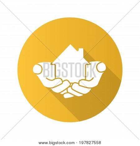 House in hands flat design long shadow glyph icon. Home loan. Mortgage. Vector silhouette illustration