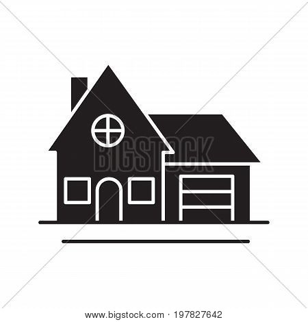 Cottage glyph icon. Silhouette symbol. Family house. Residence. Negative space. Vector isolated illustration