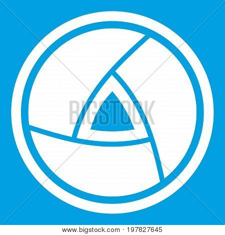 Objective icon white isolated on blue background vector illustration