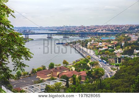 Panoramic view of Golden Horn strait Halic in Turkish from Eyup-Pierre Loti Point in Istanbul Turkey
