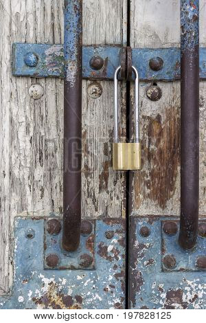 Old Wooden Door With Locked Padlock 2