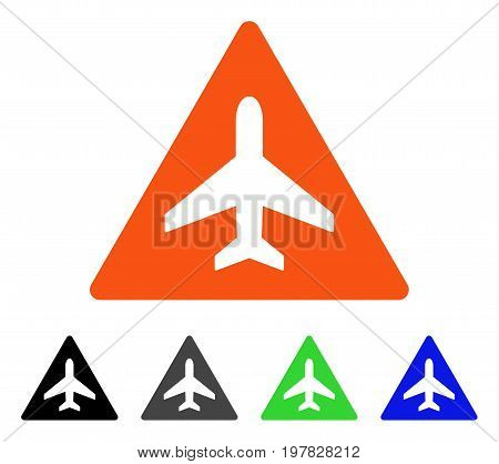 Aircraft Danger flat vector illustration. Colored aircraft danger gray black blue green pictogram versions. Flat icon style for web design.