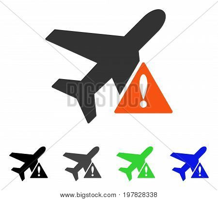 Airplane Error flat vector pictogram. Colored airplane error gray black blue green pictogram variants. Flat icon style for application design.