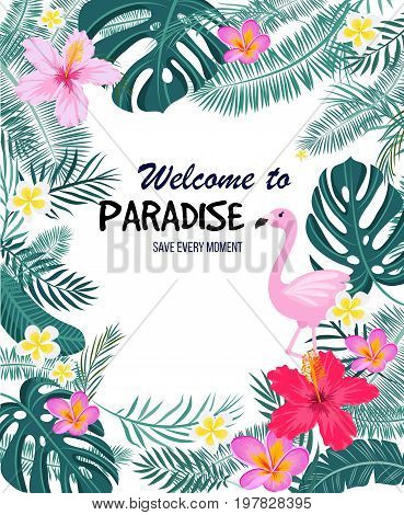 A tropical card with palm leaves, flamingo and exotic flowers. Summer jungle design is ideal for flyers, postcards, labels and unique designs. Vector