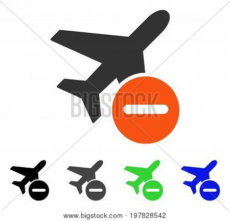 Airplane Restricted flat vector pictograph. Colored airplane restricted gray black blue green pictogram variants. Flat icon style for web design.