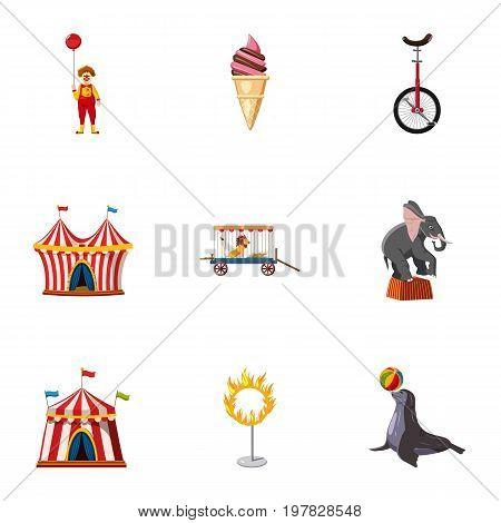 Traveling chapiteau circus icons set. Cartoon set of 9 traveling chapiteau circus vector icons for web isolated on white background