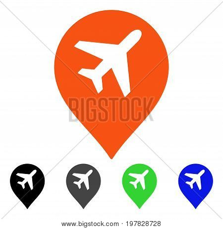 Airport Map Marker flat vector illustration. Colored airport map marker gray black blue green pictogram versions. Flat icon style for graphic design.