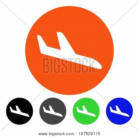 Danger Landing Aircraft flat vector pictogram. Colored danger landing aircraft gray black blue green pictogram versions. Flat icon style for web design.