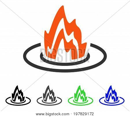 Fire Location flat vector icon. Colored fire location gray black blue green pictogram variants. Flat icon style for graphic design.
