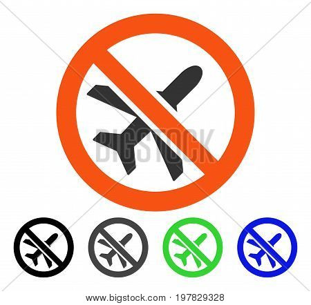 Forbidden Airplane flat vector pictogram. Colored forbidden airplane gray black blue green icon variants. Flat icon style for web design.