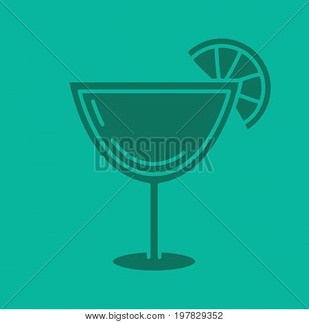 Margarita cocktail glyph color icon. Silhouette symbol. Martini drink. Negative space. Vector isolated illustration