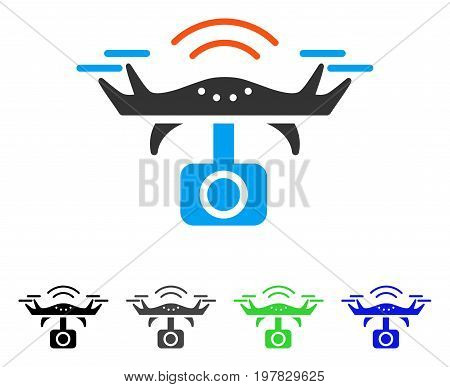 Spy Drone flat vector icon. Colored spy drone gray black blue green pictogram versions. Flat icon style for graphic design.