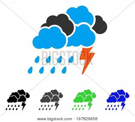Storm flat vector illustration. Colored storm gray black blue green icon variants. Flat icon style for graphic design.