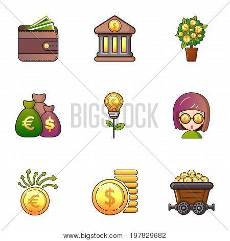 Money icons set. Cartoon set of 9 money vector icons for web isolated on white background