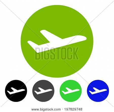 Valid Airplane Departure flat vector illustration. Colored valid airplane departure gray black blue green pictogram variants. Flat icon style for graphic design.