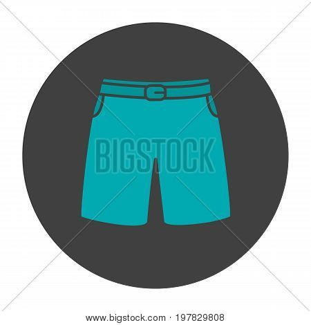 Swimming trunks glyph color icon. Sport shorts. Silhouette symbol on black background. Negative space. Vector illustration