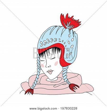 Young asian girl with closed eyes in a winter hat with pompon. Vector illustration, isolated on white background.
