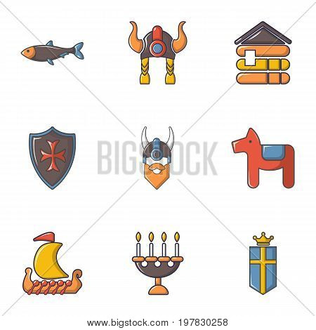 Viking equipment icons set. Cartoon set of 9 viking equipment vector icons for web isolated on white background
