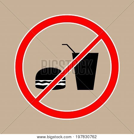 No food and drink icon. Silhouette hamburger in circle. Sign no meal on beige background. Label notice no do eating. Symbol forbidden fast food for posterbanner. Mark warning. Vector illustration.