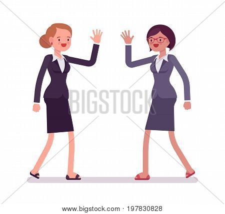 Businesswomen happy greeting, wearing office blazer and classic pencil skirt, have a good weekend polite and friendly gesture. Vector flat style cartoon illustration, isolated, white background