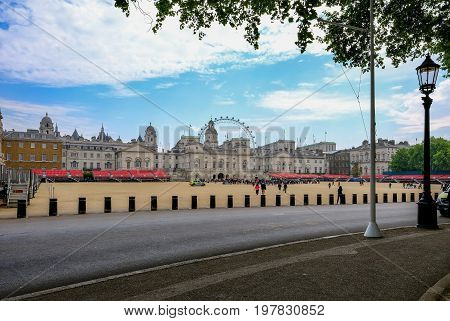 Horseguard's Parade London England - May 11 2017 : Waiting for the changing of the guards. Landscape shot from St. James.