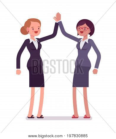 Business female partners giving high five, wearing office blazer, classic pencil skirt, strongly agreeing. Polite friendly gesture. Vector flat style cartoon illustration, isolated, white background