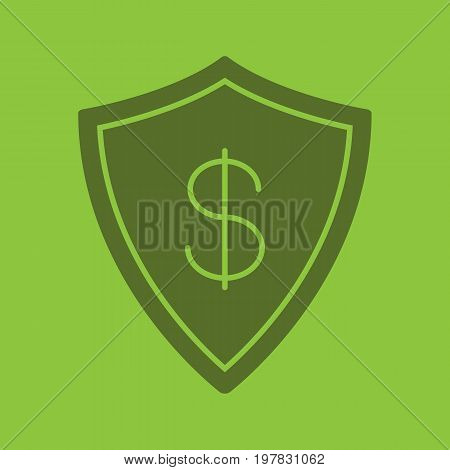 Money security glyph color icon. Silhouette symbol. Protection shield with dollar sign. Negative space. Vector isolated illustration