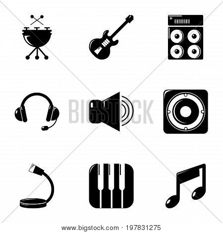 Music equipment icons set. Simple set of 9 music equipment vector icons for web isolated on white background