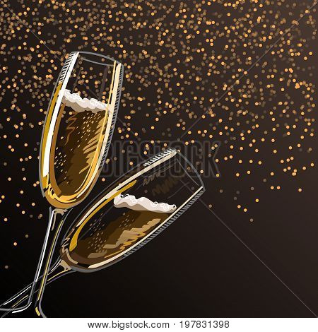 Two glasses with champagne on a black background with sparks vector illustration.