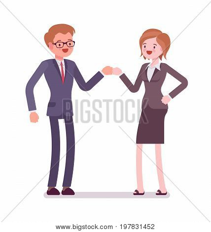 Businesspeople fist bump. Building and maintaining relationships, confidence in communication skills. Office protocol concept. Vector flat style cartoon illustration, isolated, white background