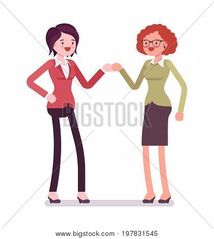 Businesswomen fist bump. Acceptable friendly behavior in an office environmen, wearing smart casual. Vector flat style cartoon illustration, isolated, white background