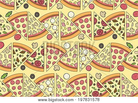 Concept of Delicious Pizza Pattern with isolated ingredients