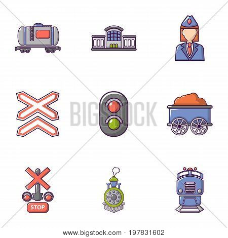 Train icons set. Flat set of 9 train vector icons for web isolated on white background