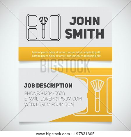 Business card print template with blusher logo. Visagist. Cosmetologist. Stationery design concept. Vector illustration