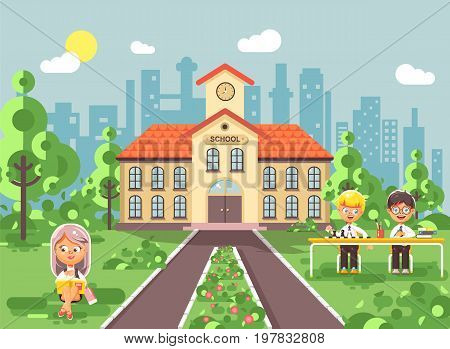 Stock vector illustration back to school character schoolgirl schoolboy pupil sitting on grass, exterior schoolyard, girl reads book doing homework, boys play chess gymnasium background in flat style