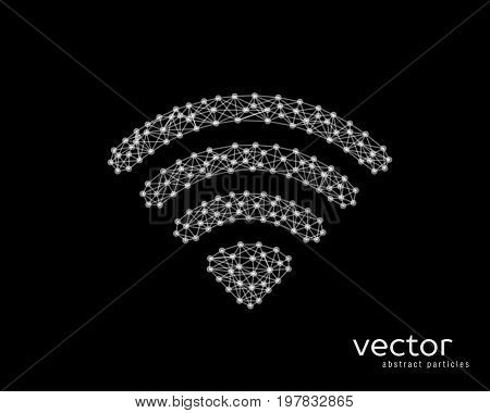 Abstract vector illustration of wi-fi sign on black background.